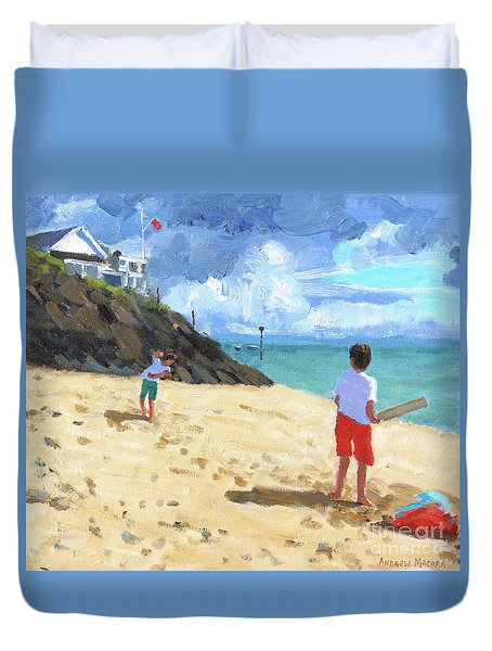 Bowling And Batting, Abersoch Duvet Cover