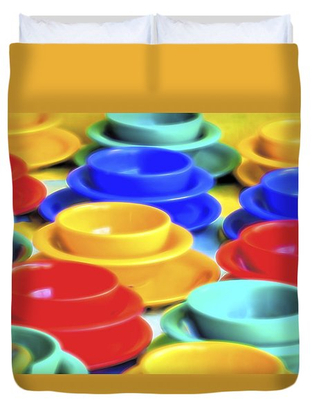 Duvet Cover featuring the photograph Bowls In The Window by Tom Singleton