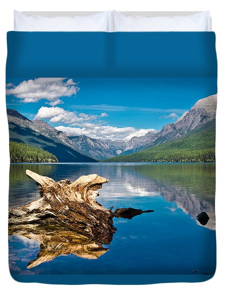 Bowman Lake 1, Glacier Nat'l Park Duvet Cover