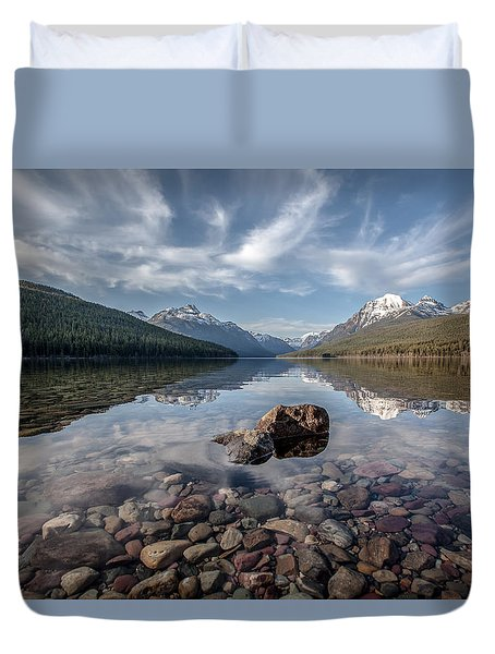 Bowman Lake Rocks Duvet Cover