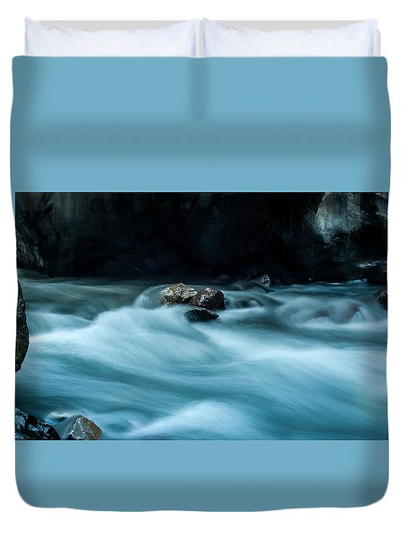 Duvet Cover featuring the photograph Box Canyon Falls by Jay Stockhaus