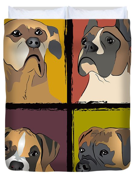 Boxer Dog Portraits Duvet Cover