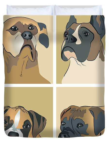 Boxer Dogs 4 Up Duvet Cover by Robyn Saunders