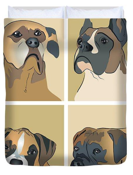 Boxer Dogs 4 Up Duvet Cover
