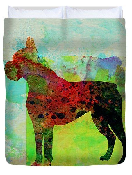 Boxer Watercolor Duvet Cover by Naxart Studio