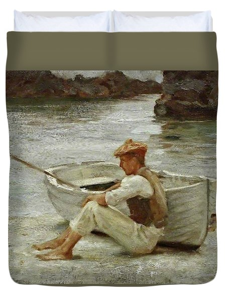 Duvet Cover featuring the painting Boy And Boat  by Henry Scott Tuke