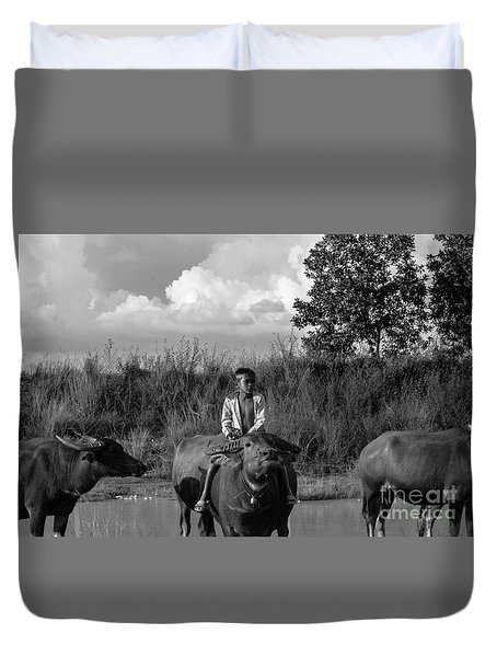 Boy And Cows Duvet Cover