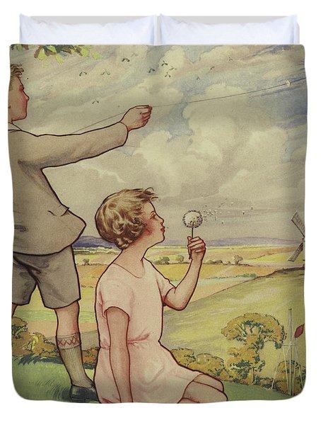 Boy And Girl Flying A Kite Duvet Cover