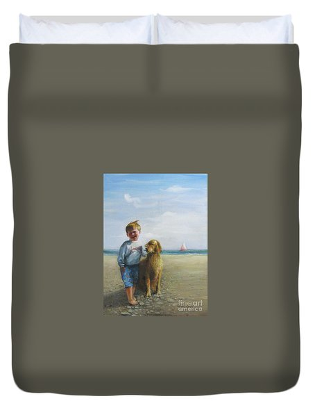 Boy And His Dog At The Beach Duvet Cover