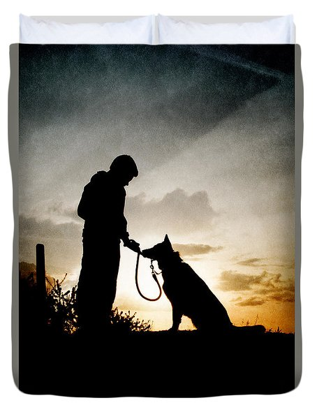 Boy And His Dog Duvet Cover