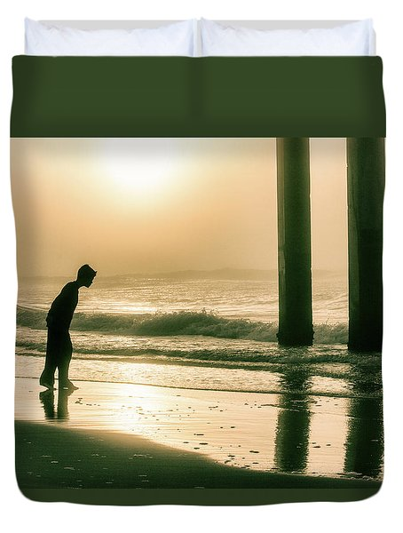 Duvet Cover featuring the photograph Boy At Sunrise In Alabama  by John McGraw