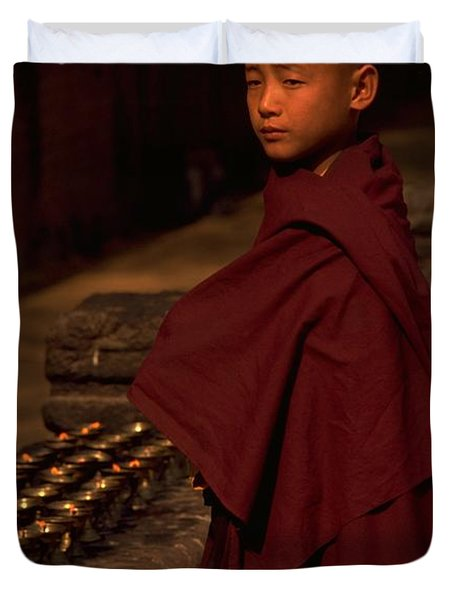 Boy Buddhist In Bodh Gaya Duvet Cover