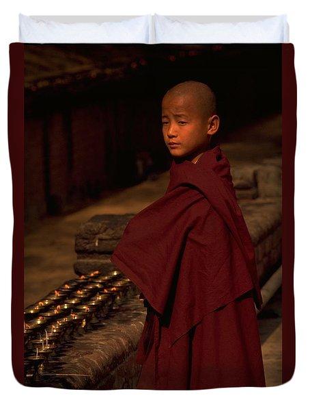 Boy Buddhist In Bodh Gaya Duvet Cover