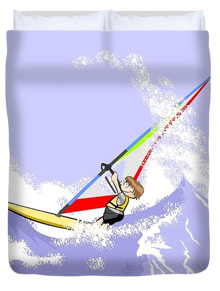 Boy Doing Extreme Windsurfing In The Middle Of A Stormy Sea Duvet Cover