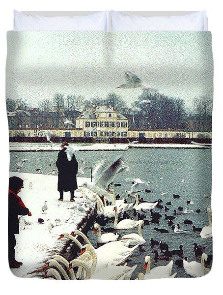 Boy Feeding Swans- Germany Duvet Cover by Nancy Mueller