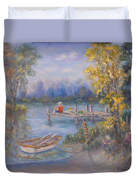 Boy Fishing On Dock And Boat On Lake Duvet Cover