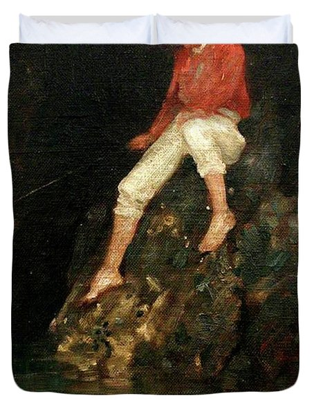 Duvet Cover featuring the painting Boy Fishing On Rocks  by Henry Scott Tuke