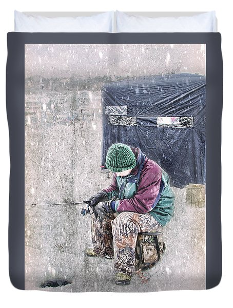 Boy Ice Fishing  Duvet Cover