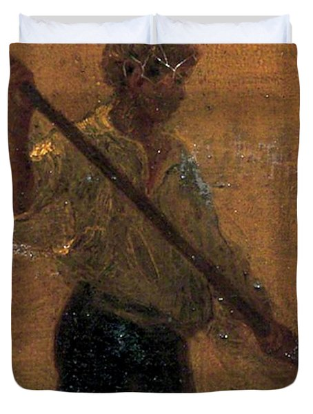 Duvet Cover featuring the painting Boy In A Punt by Henry Scott Tuke