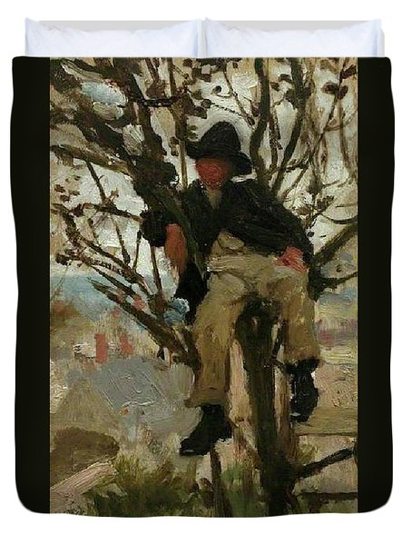 Duvet Cover featuring the painting Boy In A Tree by Henry Scott Tuke