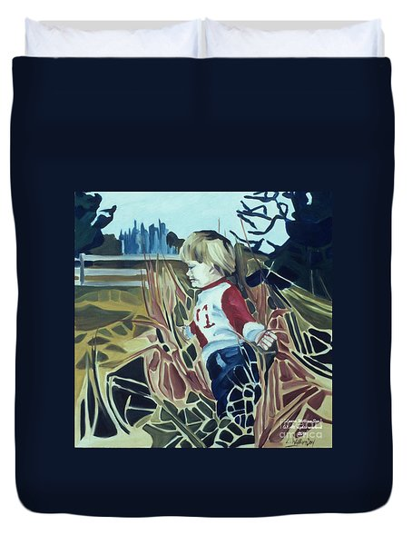 Boy In Grassy Field Duvet Cover
