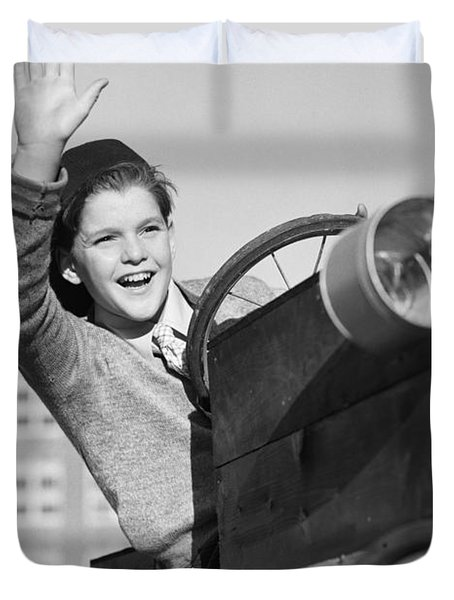 Boy In In Go-cart, C.1940-30s Duvet Cover
