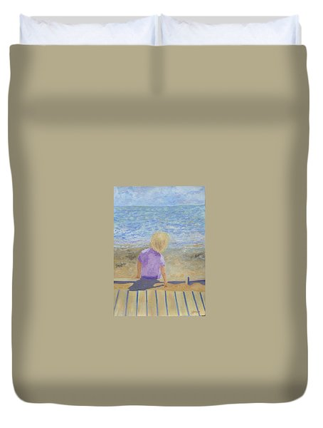 Boy Lost In Thought Duvet Cover