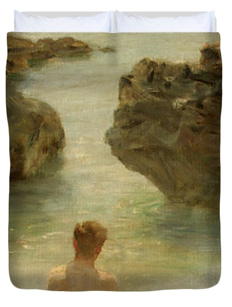 Duvet Cover featuring the painting Boy On A Beach, 1901 by Henry Scott Tuke