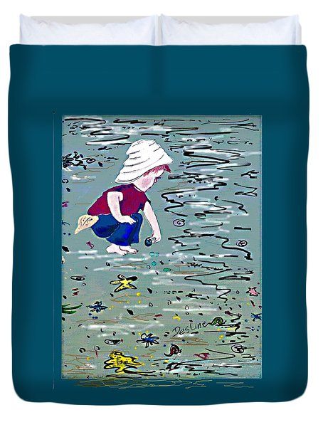 Boy On Beach Duvet Cover