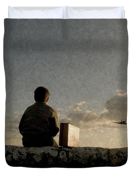 Boy On Wall Duvet Cover