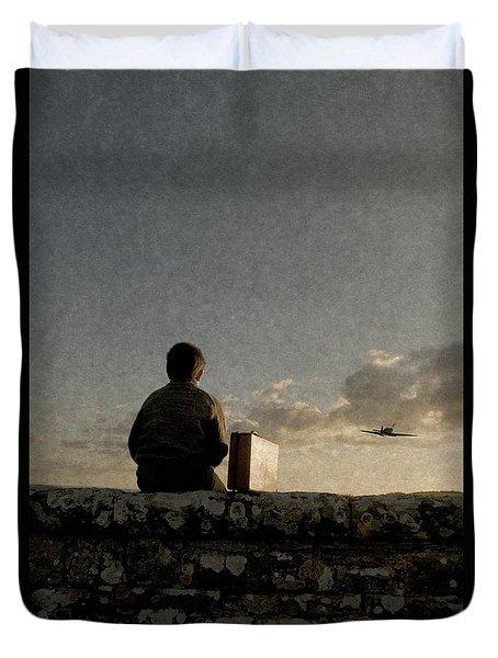 Boy On Wall Duvet Cover