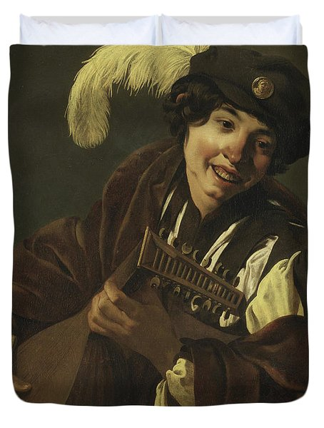 Boy Playing The Lute Duvet Cover