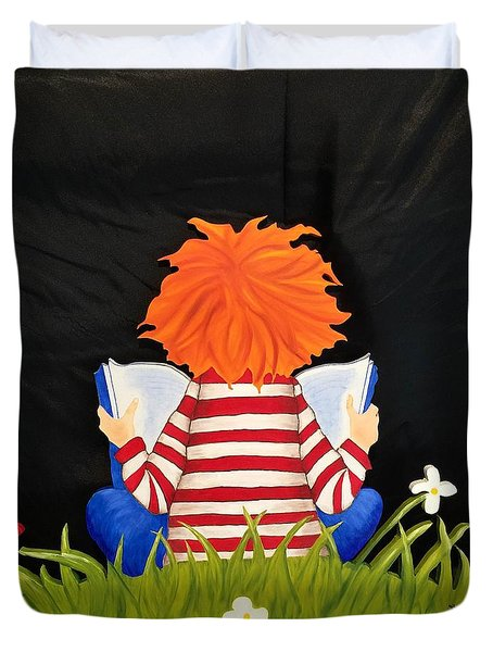Boy Reading Book Duvet Cover