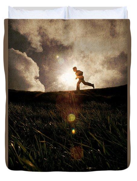 Boy Running Duvet Cover
