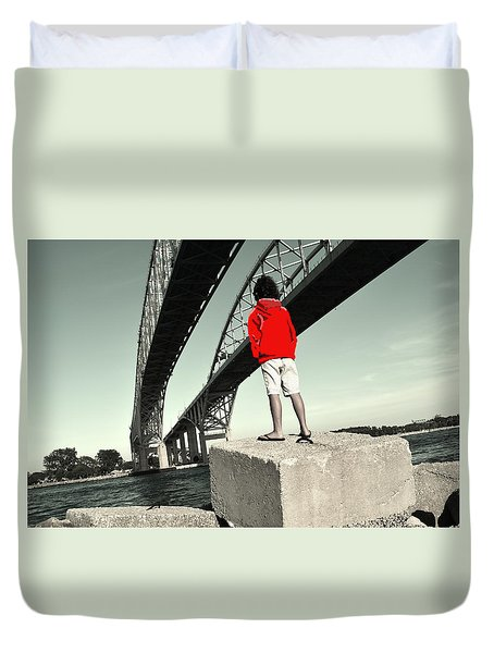 Boy Under Bridge Duvet Cover