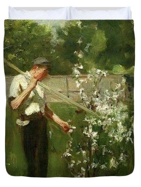 Duvet Cover featuring the painting Boy With A Grass Rake by Henry Scott Tuke