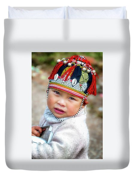 Boy With A Red Cap. Duvet Cover
