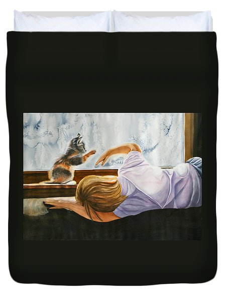 Duvet Cover featuring the painting Boy With Kitten by Teresa Beyer
