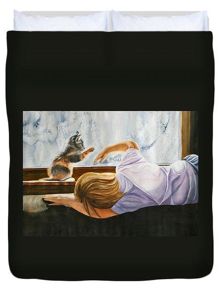 Boy With Kitten Duvet Cover
