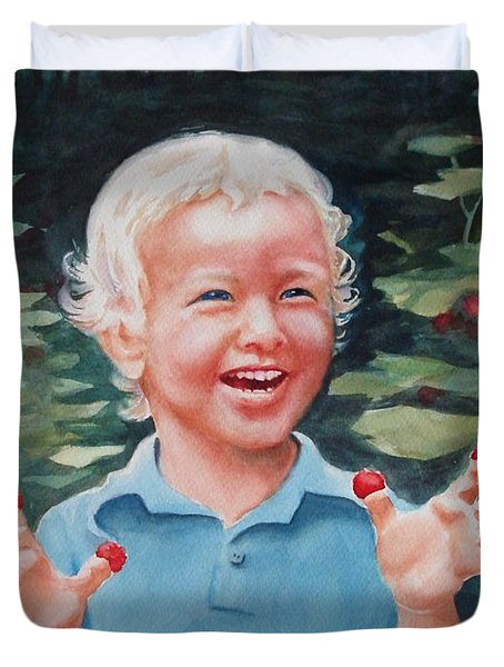 Boy With Raspberries Duvet Cover by Marilyn Jacobson