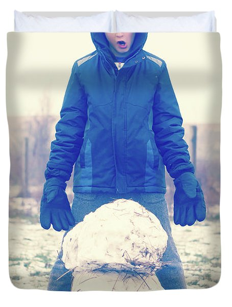 Boy With Snowman Duvet Cover