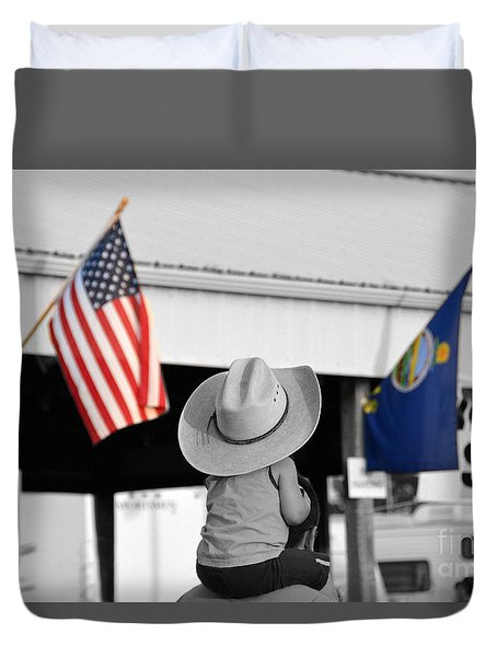 Boy With Two Flags Duvet Cover by Catherine Sherman