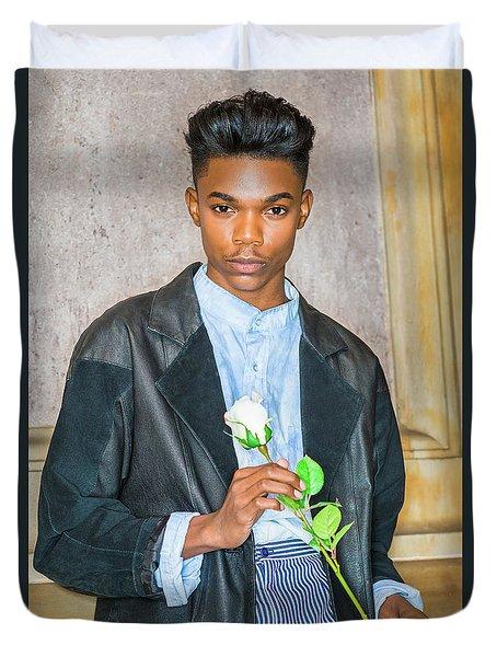Boy With White Rose 15042618 Duvet Cover