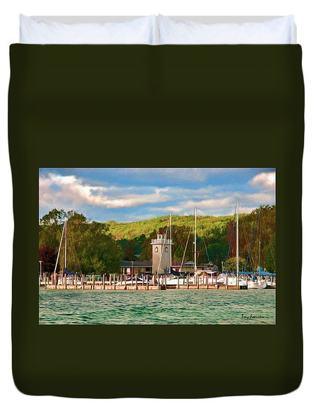 Boyne City Marina Duvet Cover