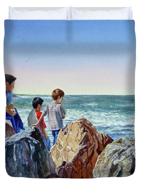 Boys And The Ocean Duvet Cover