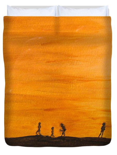 Duvet Cover featuring the painting Boys At Sunset by Ian  MacDonald