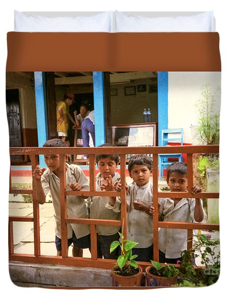 Duvet Cover featuring the photograph Boys In Nepal Seeking Bandaids by Suzanne Luft