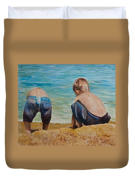 Boys On A Beach Duvet Cover
