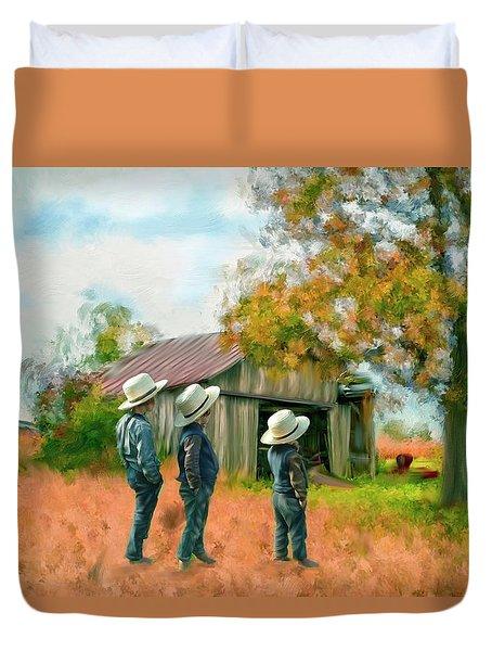 Boys On The Farm Duvet Cover