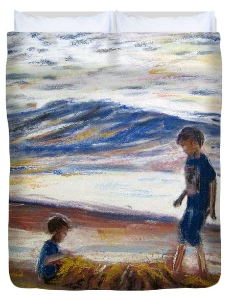 Boys Playing At The Beach Duvet Cover